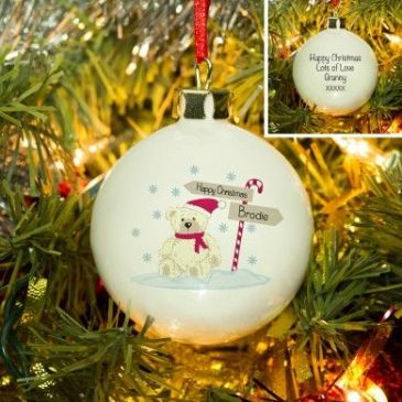 Candy Cane Christmas Bear Bone China Bauble